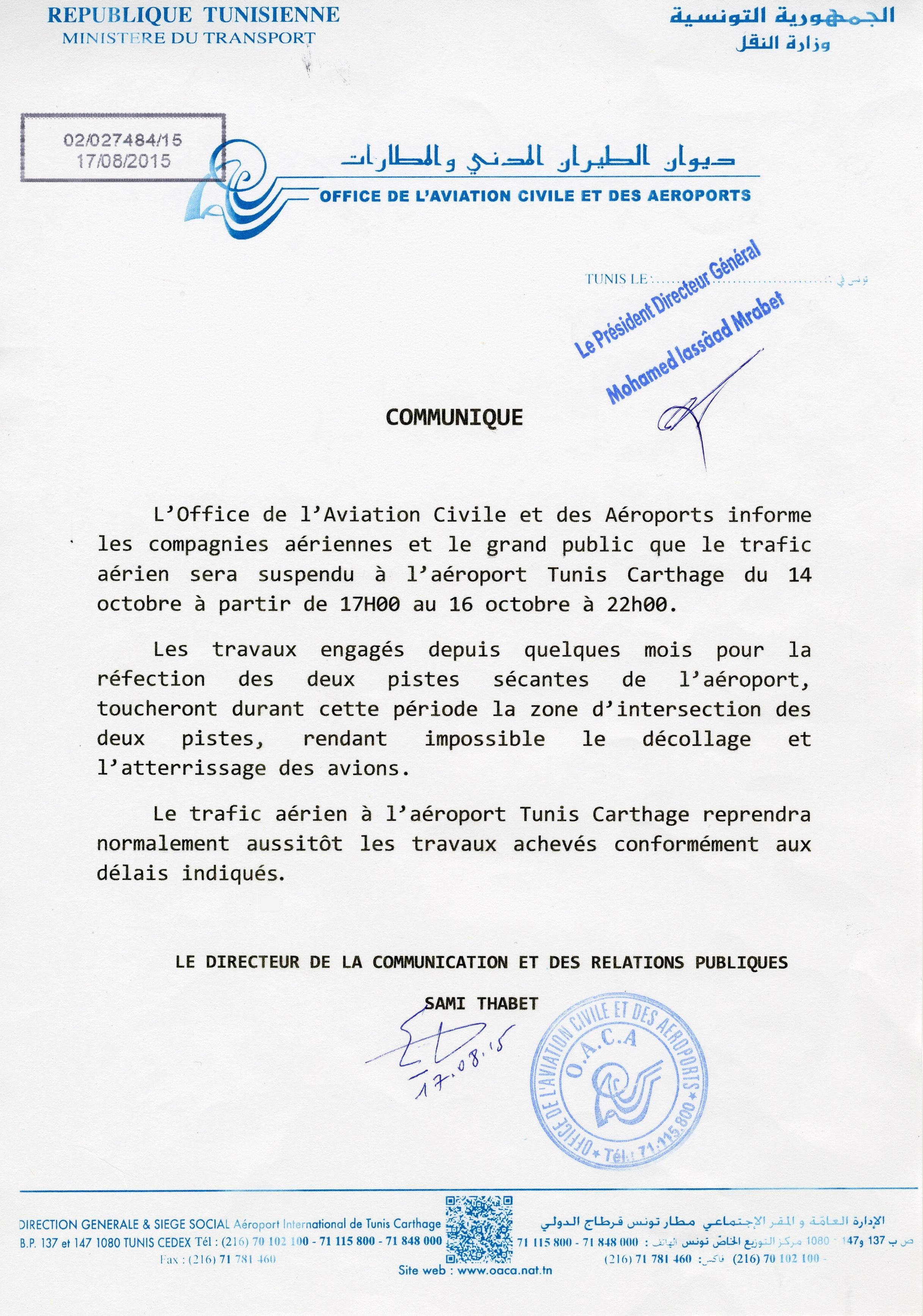 Tunis le trafic a rien suspendu l 39 a roport du 14 au 16 - Office de l aviation civile et des aeroports tunisie ...