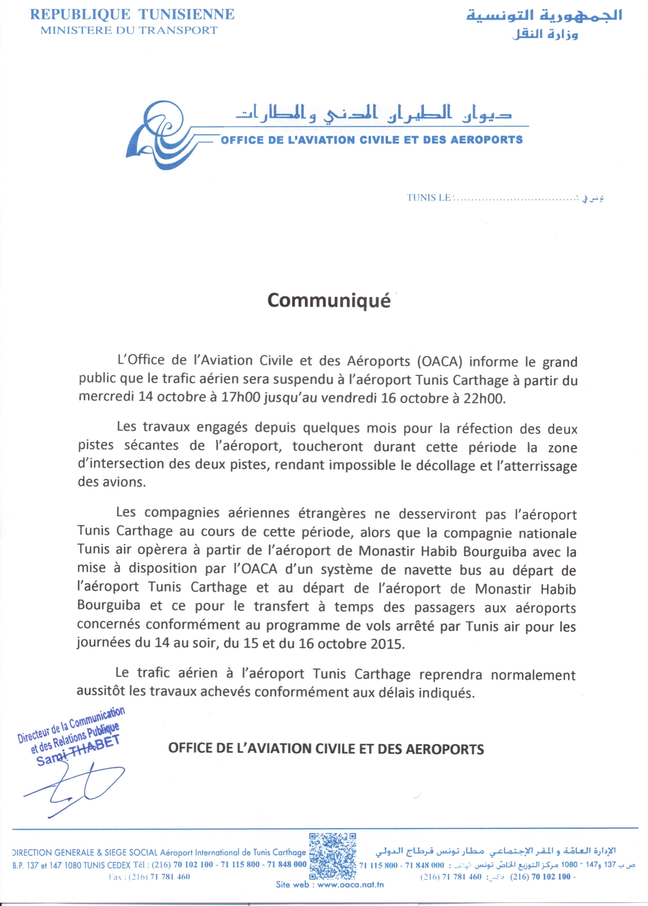 Oaca communiqu - Office de l aviation civile et des aeroports tunisie ...